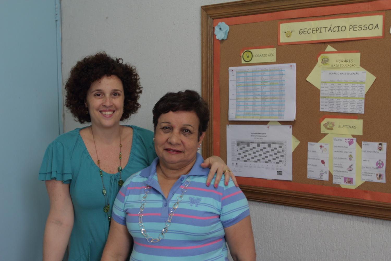 Carla Aida, diretora-adjunta, e Marly Cardoso, diretora da EM Epitácio Pessoa